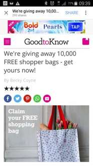 free shopping bag @ goodtoknow / dotcomgiftshop