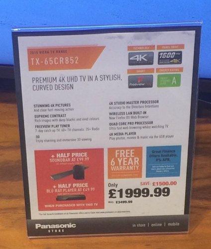 Panasonic 65CR852 4K TV £1999.99 Panasonic Store Plymouth