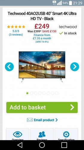 "Techwood 40AO2USB 40"" Smart 4K Ultra HD TV - Black £249.00 @ AO"