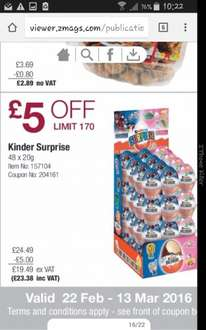 Kinder Eggs at Costco 48 for £23.38