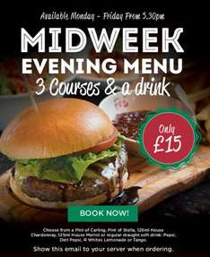 Frankie and Benny's - 3 courses + drink for £15 - Weekdays only