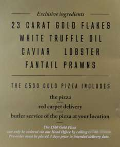 23 Carat Gold Flakes White Truffle Caviar Lobster Fantail Prawn pizza £500 @ Pizzagogo