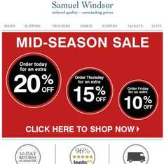 20% off everything  at Samuel Windsor (ends tonight 27/4/16) - reduced to 15% tmw and 10% on Friday