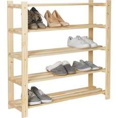 Buy 5-Tier Part-Assembled Shoe Rack - Solid Unfinished Pine £14.99 at Argos