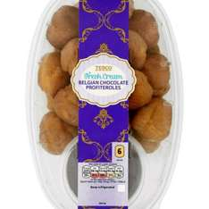 24 Belgian chocolate profiteroles. £2.50 in store and online. Tesco