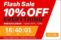 2 hours. Flash Sale. 10% off everything. 10am - 12pm tomorrow @ Halfords  ( Sunday 12th June)