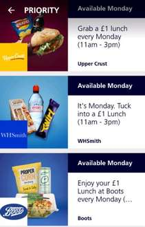 ITS BACK!  £1 lunch for o2 priority customers on Mondays@ either WHSmith,  Domino's pizza,  Upper crust,  Boots, Pumpkin