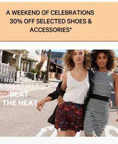 30% off selected shoes and accessories plus an extra 10% and free delivery H&M