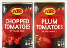 KTC chopped/plum tomato,chick pea,butter beans,black eyed peas Tins Tesco 5 for £1