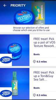 Free hair product available from Boots using O2 priority between 23/6/16 and 7/7/16