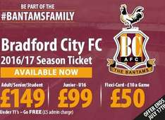 Bradford City F.C Adult Season Ticket Only £149 until 17/07/2016
