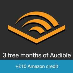 Free £10 Amazon Credit When you Sign Up for a 3 Month Audible Trial (New Audible Customers Only) (Prime Only)