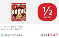 Kellogg's Krave Chocolate Hazelnut (375g) was £2.99 now £1.49 @ Co-op Food Stores