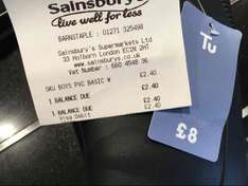 Sainsburys (barnstaple) Kids Wellies for £2.40, showing £8