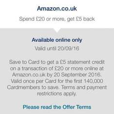 AMEX Offer - Spend £20 or more at Amazon.co.uk and get £5 statement credit