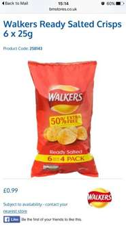 Walkers Ready Salted Crisps 25g x 6 @B&M for 99p