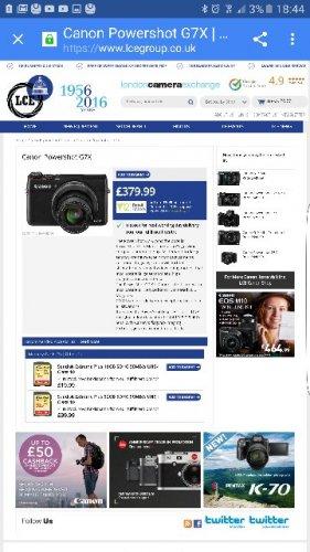 canon g7x £379.99 @ London Camera Exchange