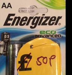 50p - Energiser Eco advance AA instore @ Robert Dyas