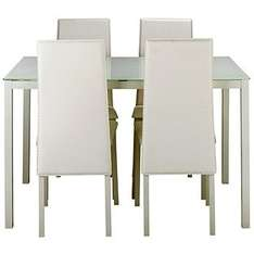 Hygena Lido Glass Dining Table & 4 White Chairs now £95.99 C+C + More Dining Sets from £66.94 Del @ Argos
