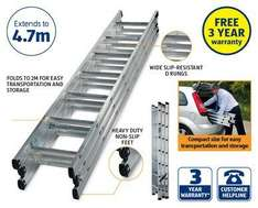 Workzone 4.7 Metre Triple Extension Ladder - £49.99 @ Aldi