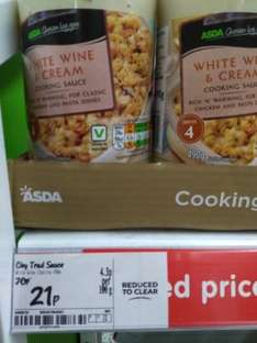 White Wine and Cream Cooking Sauce (Own Brand) for 21p was 70p @ Asda Gravesend