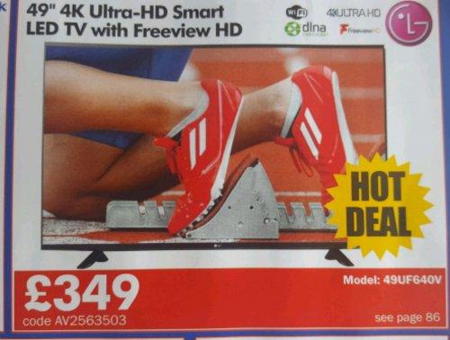"""LG  49UF640V   49"""" 4K Ultra HD Smart LED TV £418.80 @ CPC"""