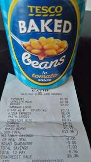 Tesco Hastings own brand beans 11p a can-