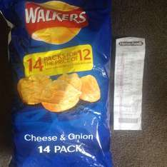 Walkers cheese & onion crisp, 14 pack for price of 12 £1.29 @ Heron
