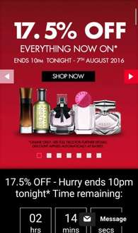 theperfumeshop Online has 17.5% off ALL perfumes plus free post and packaging until 10pm tonight!!