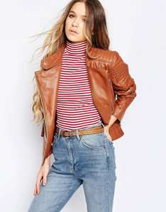 ASOS Tan Real Leather Biker Jacket reduced from £190 to £39 delivered