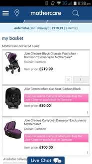 Joie Buggy + Infant Accessories (car seat & new born carry cot attachment) Mothercare