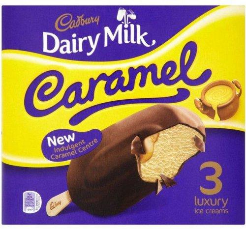 Cadbury Dairy Milk Caramel Ice Cream on a stick (3 x 100ml) / Cadbury Ice Cream Dairy Milk Swirl on a stick (3 x 100ml) / Oreo Ice Cream on a stick (3 x 100ml) was £2.50 now £1.25 @ Sainsbury's