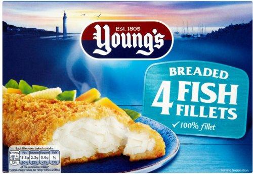 Young's Breaded Fish (Alaskan Pollock (50%) Fillets Frozen (4 = 400g) was £3.00 now £1.50 @ Ocado