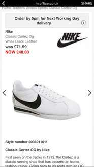 Nike Cortez men's trainers nylon £26.25 white leather £30 with code EXTRA (also 4 or 5 ladies versions for £26.25) at office shoe shop (free click n collect) + quidco