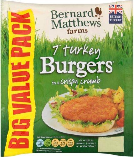 Bernard Matthews Turkey (54%) Burgers (Pack of 7 = 420g) was £1.97 now £1.00 Morrisons