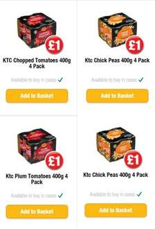 KTC Chick Peas, Plum Tomattoes, Chopped Tomattoes 4 x 400g only £1 at PoundLand In Stores & Online