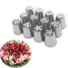 12pcs Icing Tips Stainless Set £6.98 delivered for Prime (non Prime - plus £1.99) from shanzom Fulfilled by Amazon