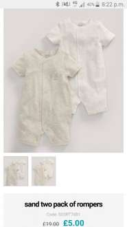 Mamas and Papas pack of two Rompers in Sand (Unisex, but also available in pink and blue) £19.00 reduced to £5, plus free click and collect