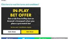 Risk Free In-play Bet on Bet365 for Liverpool vs Arsenal