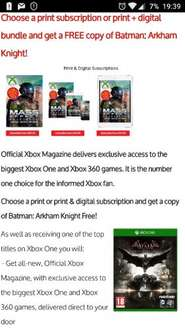 Official Xbox Magazine -print subscription or print + digital bundle and get a FREE copy of Batman: Arkham Knight! £29.50 @ My favourite magazines
