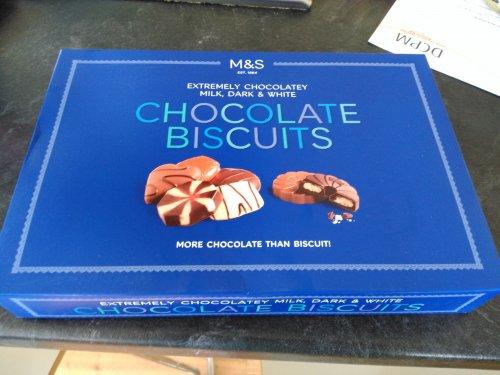 M&S Chocolate Biscuits Milk, Dark & White Extremely Chocolatey 500g box half price £3