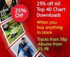 25% OFF All Top 40 Chart Downloads with Tesco till receipt - Tesco Digital