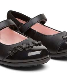 Mothercare black leather flower shoes £8