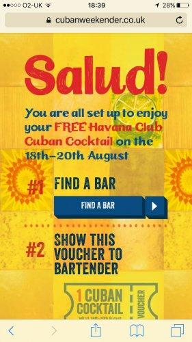 free cocktail at Slug and Lettuce, Giraffe bars, Head of Steam bars