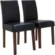 Aston Pair of Black Walnut Leather Effect Dining Chairs £29.99 @ Argos
