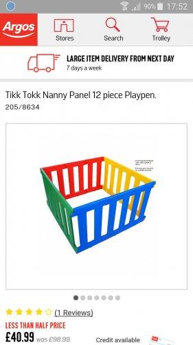 tikk tokk nanny play pen half price £40.99 @ Argos