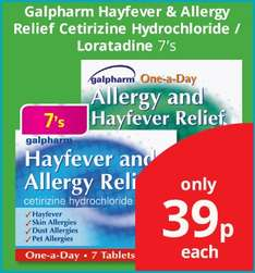 Hay fever remedies 39p @ Savers