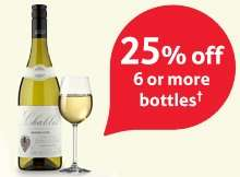 Tesco Wine 25% OFF when you buy 6 or more from 18th