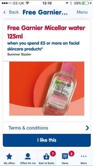 FREE Garnier Micellar Water cleanser at Boots, with a £5 skincare spend