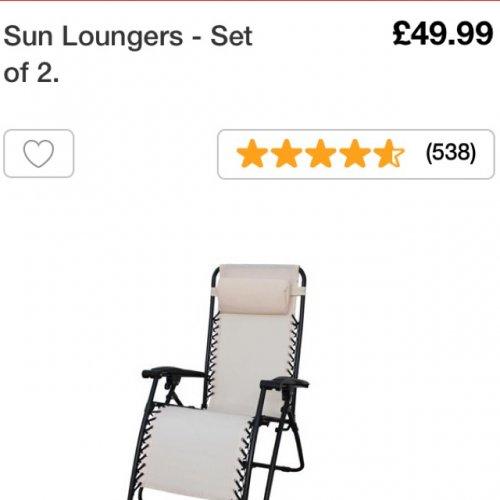 Loungers - set of 2 - Argos 49.99